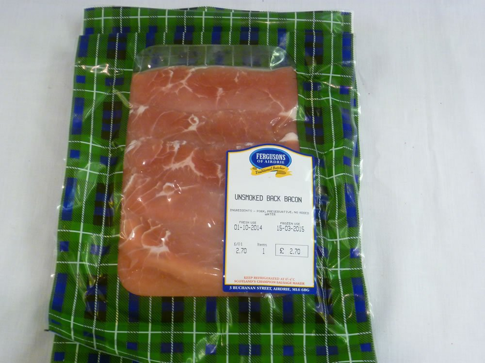 Unsmoked Back Bacon B2B pack